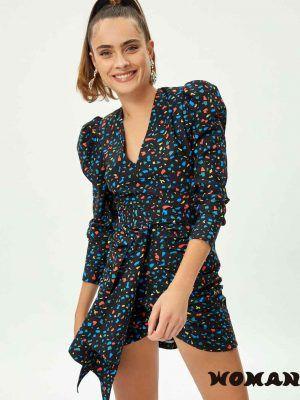 KRAVITZ – Vestido MIOH estampado terrazo multicolor falda drapeada