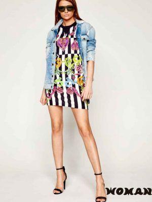 Vestido a rayas multicolor Versace.