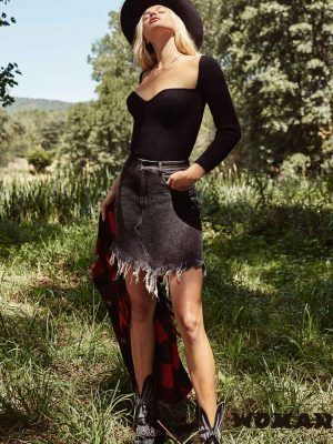 Slash Skirt Denim Black Fetiche Suances