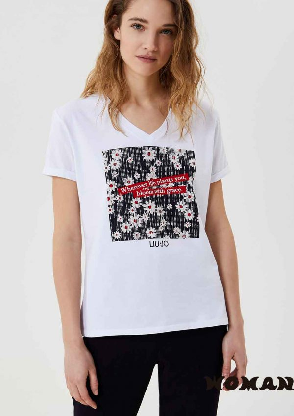 Camiseta Liujo con estampado margaritas WA1329J5003T9741