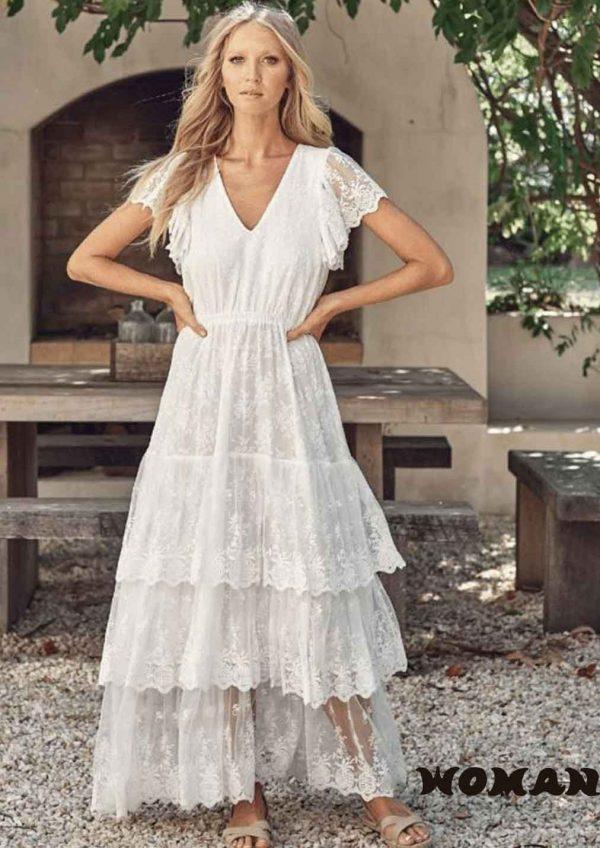 Vestido Jaase Snow White Lace Amaretto Maxi