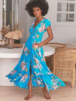 Vestido Jaase Blue Lagoon Print Romi