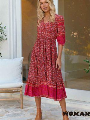 Vestido Jaase Hibiscus Print Eve Midi