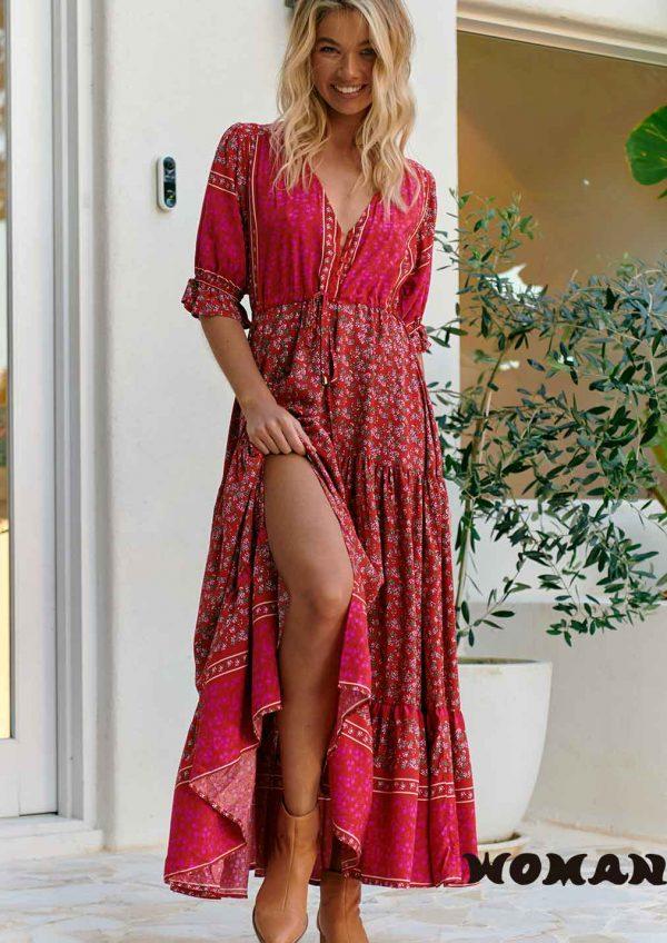 Vestido Jaase Hibiscus Print Lorena