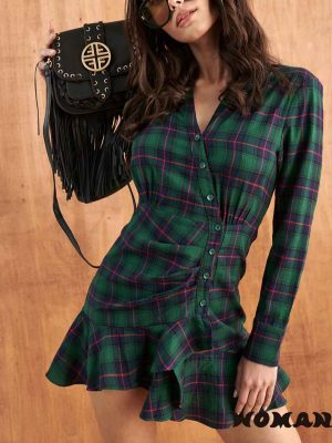 Vestido FETICHE SUANCES Selena Tartan Green